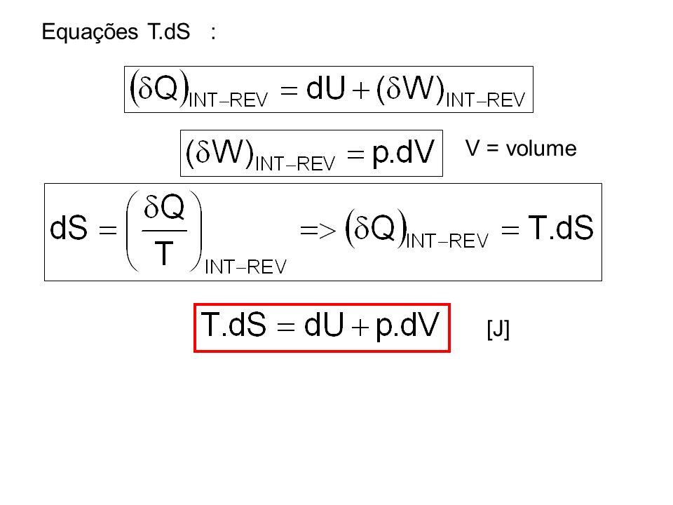 Equações T.dS : V = volume [J]